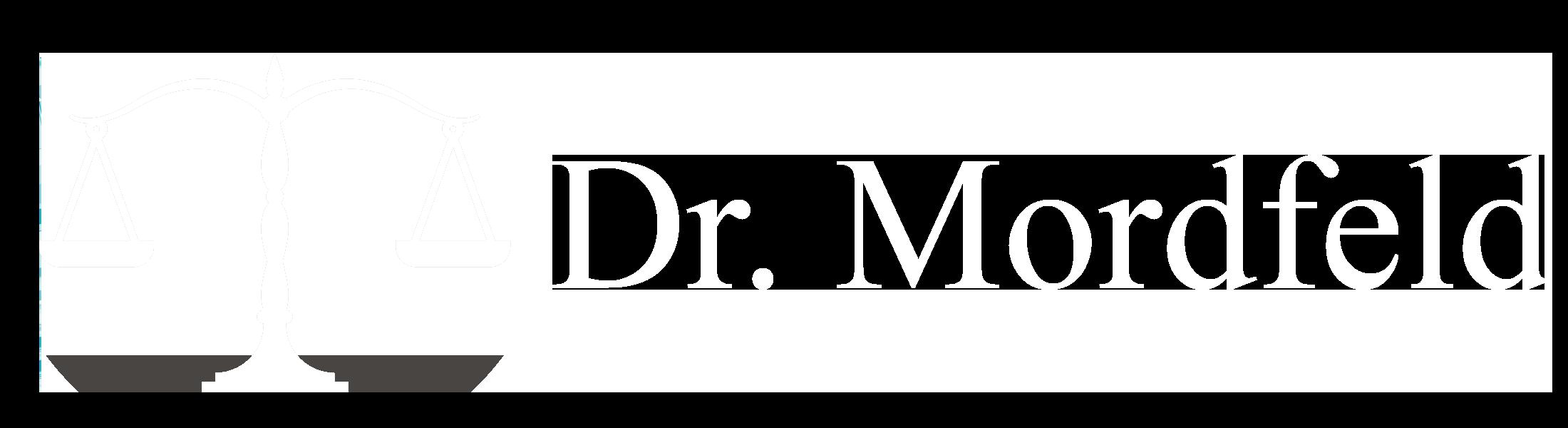 Kanzlei Dr Mordfeld Logo Transparent Wage Schrift Weiß